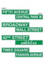 NYC STREET SIGN COTOUT GREEN/WHITE SET/4