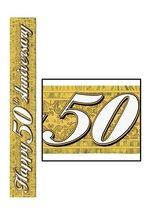 5FT METALLIC 50TH ANNIVERSARY BANNER GOLD