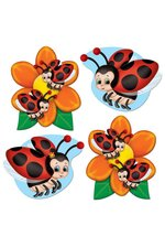 "4.5"" MINI LADYBUG CUTOUTS RED/BLACK PKG/10"