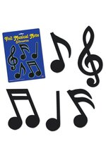 "5"" - 10"" FOIL MUSICAL NOTES BLACK SET/12"