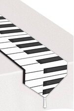 "11"" PRINTED PIANO KEYBOARD TABLE RUNNER WHITE/BLACK"
