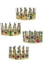 "4"" PRINTED JEWELED PAPER CROWN GOLD PKG/12"