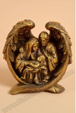 "8"" RESIN NATIVITY ON WINGS ANTIQUE GOLD"