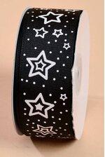 "1.5"" X 25Y GROSGRAIN RIBBON WHITE STAR BLACK"