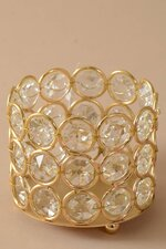 """3"""" X 2.5"""" CRYSTAL BEAD CANDLE HOLDER GOLD/CLEAR"""