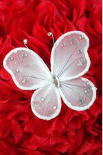 "5"" WIRED DECORATION BUTTERFLY WHITE PKG/20"