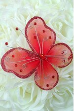 "5"" WIRED DECORATION BUTTERFLY RED PKG/20"