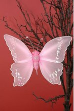 "10"" GLITTER SHEER ARTIFICIAL DECORATIVE  BUTTERFLY PINK"