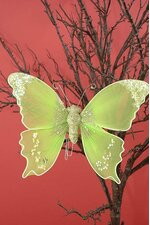 "10"" GLITTER SHEER FABRIC BUTTERFLY APPLE GREEN"
