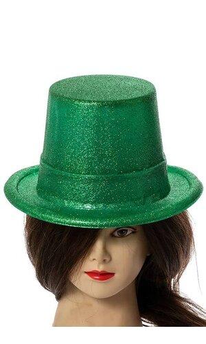 GLITTERED TOP HATS (PKG/3) GREEN