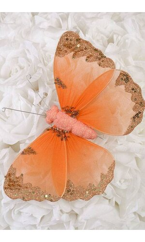 "8"" GLITTER SHEER BUTTERFLY ORANGE"