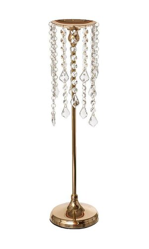 "20"" METAL CANDLE HOLDER W/BEADS GOLD"