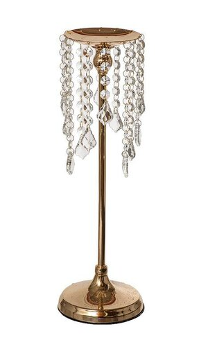 "16"" METAL CANDLE HOLDER W/BEADS GOLD"