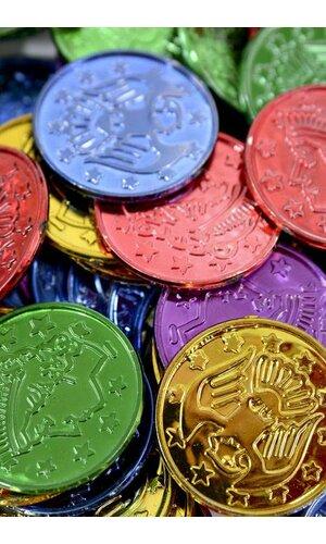 """1.5"""" ROUND PLASTIC COINS ASSORTED PKG/100"""