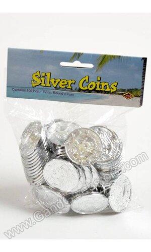 "1.5"" ROUND PLASTIC COINS SILVER PKG/100"