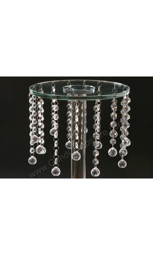 "10"" X 21"" GLASS & MIRROR ROUND STAND W/CRYSTAL BEADS CLEAR"
