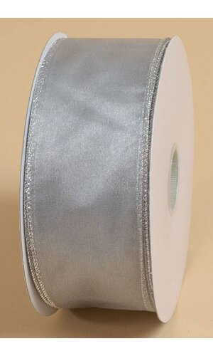 """2.5"""" X 50YDS SHEER ESSENCE WIRED RIBBON SILVER"""