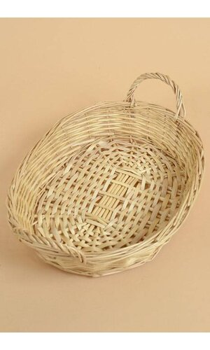 """19"""" X 13.5"""" OVAL WICKER TRAY W/HANDLES NATURAL"""