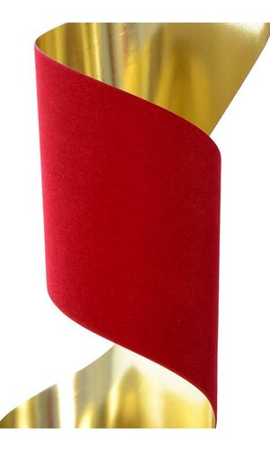 "4"" X 25YDS METALLIC VEL-PRUF RIBBON HOLIDAY RED"