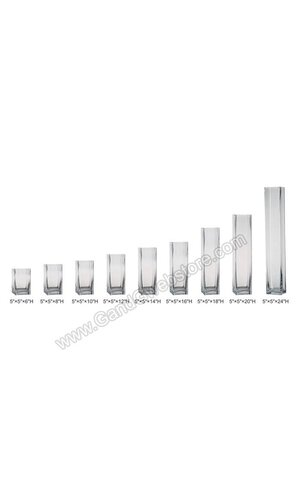 """5"""" X 5"""" X 12"""" SQUARE VASE CLEAR"""