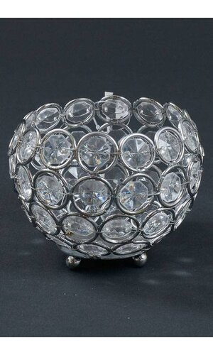 "3"" X 3.25"" CRYSTAL BEAD CANDLE HOLDER SILVER/CLEAR"
