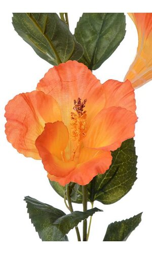 "31"" SILK HIBISCUS SPRAY W/BUD ORANGE"