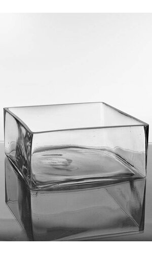 """9"""" X 9"""" X 4"""" SQUARE VASE CLEAR"""