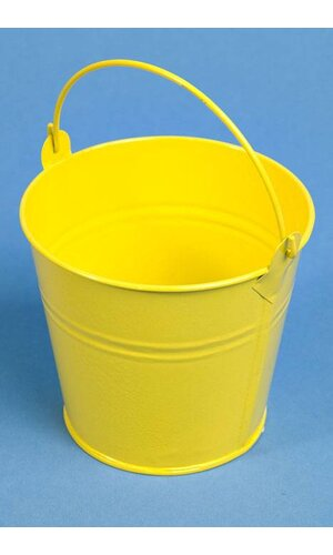 "4"" X 4.25"" ROUND METAL BUCKET W/HANDLE YELLOW"