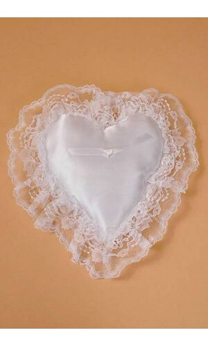 SMALL LACE HEART PILLOW WHITE