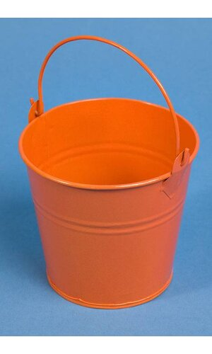 "4"" X 4.25"" ROUND METAL BUCKET W/HANDLE ORANGE"