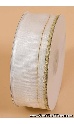 "1.5"" X 25YDS SIDE PULL BOW W/GOLD TRIM WHITE"