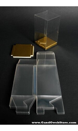 "3"" X 3"" X 5.5"" PVC BOX CLEAR W/GOLD BOTTOM PKG/12"