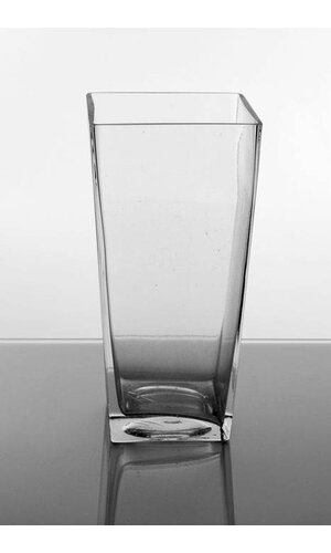 """4"""" X 5"""" X 12"""" TAPERED SQUARE VASE CLEAR"""