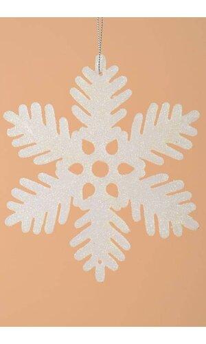 """6"""" GLITTER SNOW FLAKE ORNAMENT CREAM PKG/12"""