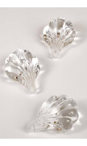 50MM SEA SHELL HANGING ORNAMENT CLEAR PKG/8