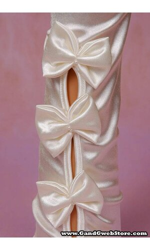 "15.5"" SATIN GLOVES W/ 4 BOWS IVORY"