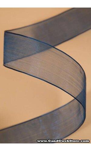 "1.5"" X 25YDS WIRE SHEER RIBBON NAVY BLUE"
