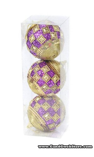"4"" GLITTER SEQUIN BALL ORNAMENT PURPLE/GOLD PKG/3"