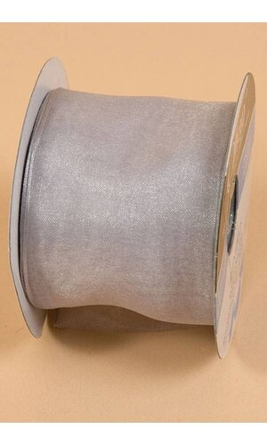 """2.5"""" X 25YDS WIRED ENCORE SHEER RIBBON SILVER"""