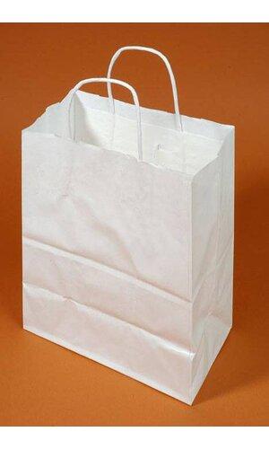 "8"" X 5"" X 10"" KRAFT SHOPPING BAG WHITE PKG/12"
