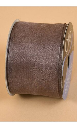 "2.5"" X 25YDS WIRED ENCORE SHEER RIBBON PEWTER"
