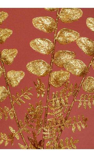 "22"" GLITTER LOCUST SPRAY GOLD PKG/12"