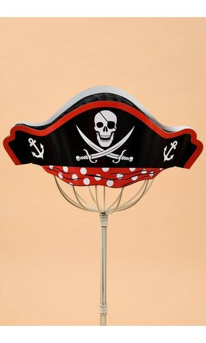 PRINTED PIRATE HAT W/TISSUE CROWN BLACK/RED PKG/6