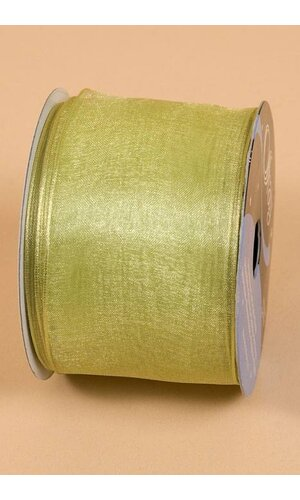 "2.5"" X 25YDS WIRED ENCORE SHEER RIBBON CLEAN GREEN"