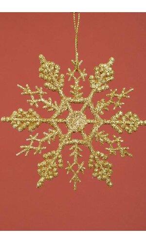 """4"""" GLITTER SNOW FLAKE ORNAMENT GOLD PKG/12"""