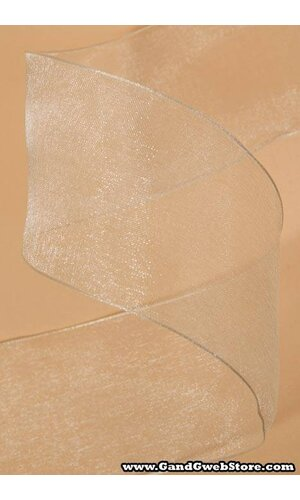 """2.5"""" X 25YDS WIRED ENCORE SHEER RIBBON IVORY"""