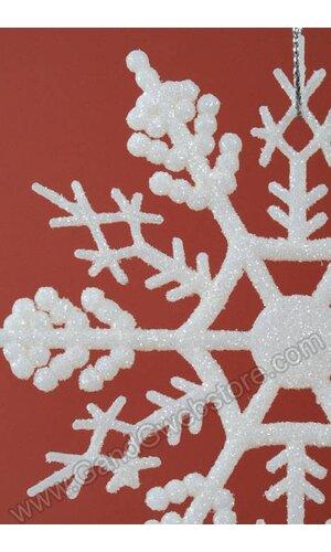 """4"""" GLITTER SNOW FLAKE ORNAMENT CREAM PKG/12"""