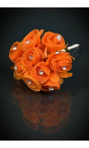 ORGANZA FLOWERS W/DIAMOND ORANGE PKG/12