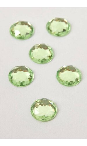 10MM ACRYLIC FLAT BACK FACETED RHINESTONE APPLE GREEN PKG/120 APPROXIMATELY