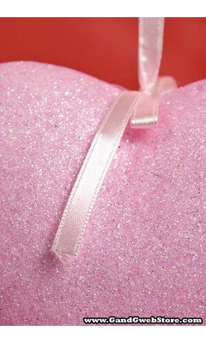 """5.5"""" GLITTER SOLID HEART HANGING PINK"""